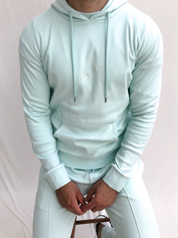 Mint Green Signature Logo Embroidered Hoodie - P r é v u . S t u d i o .