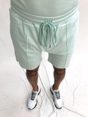 Load image into Gallery viewer, Mint Green Signature Logo Shorts - P r é v u . S t u d i o .