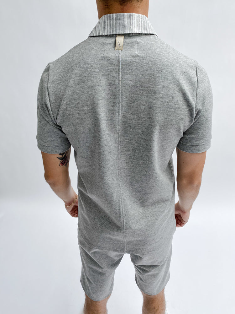 Grey Bavaro Slim Fit Polo - P r é v u . S t u d i o .