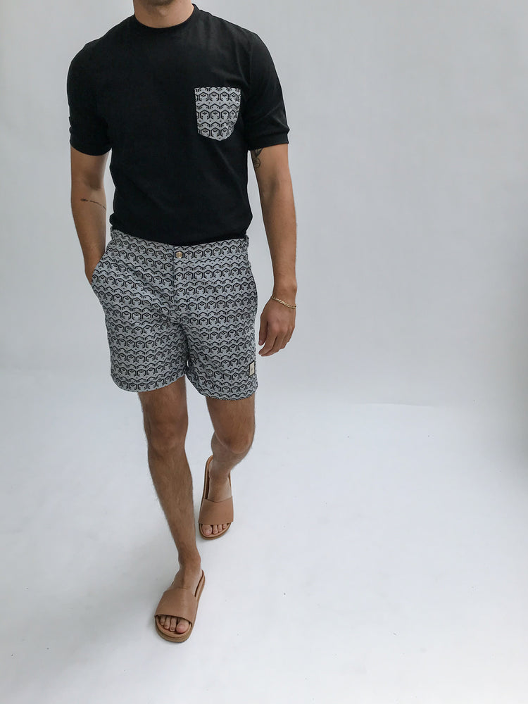 Blue and Black Balnea Geo Print Swim Shorts - P r é v u . S t u d i o .