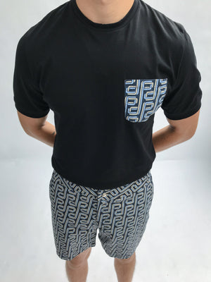 Load image into Gallery viewer, Black and Blue Balnea P Pocket Slim Fit T-shirt - P r é v u . S t u d i o .