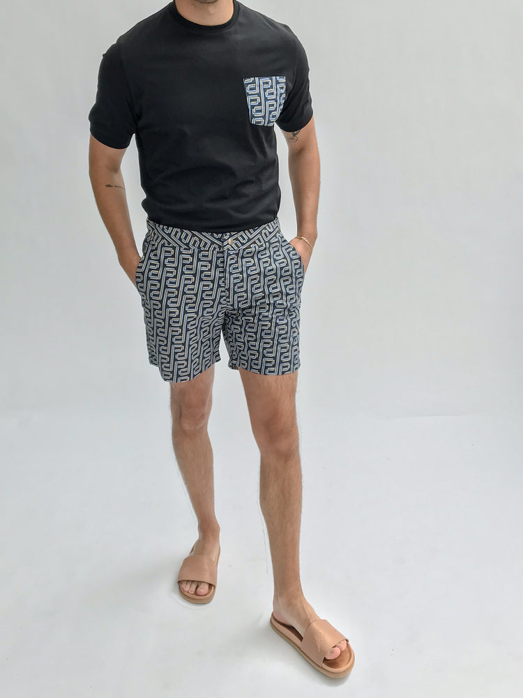 Blue and Black Balnea Logo Print Swim Shorts - P r é v u . S t u d i o .