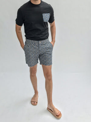 Load image into Gallery viewer, Blue and Black Balnea Logo Print Swim Shorts - P r é v u . S t u d i o .