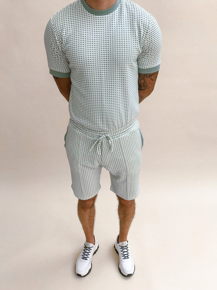 Load image into Gallery viewer, Mint Green Bonaire Jacquard Check Shorts - P r é v u . S t u d i o .