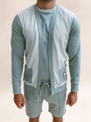 Load image into Gallery viewer, Mint Green Bonaire Jacquard Check Cardigan - P r é v u . S t u d i o .