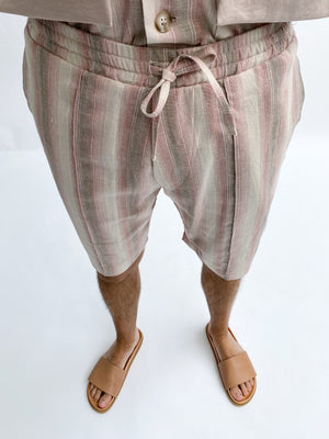 Load image into Gallery viewer, Pink and Cream Roatan Stripe Linen Shorts - P r é v u . S t u d i o .