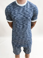 Navy Paros Space Dye Slim Fit T-shirt - P r é v u . S t u d i o .