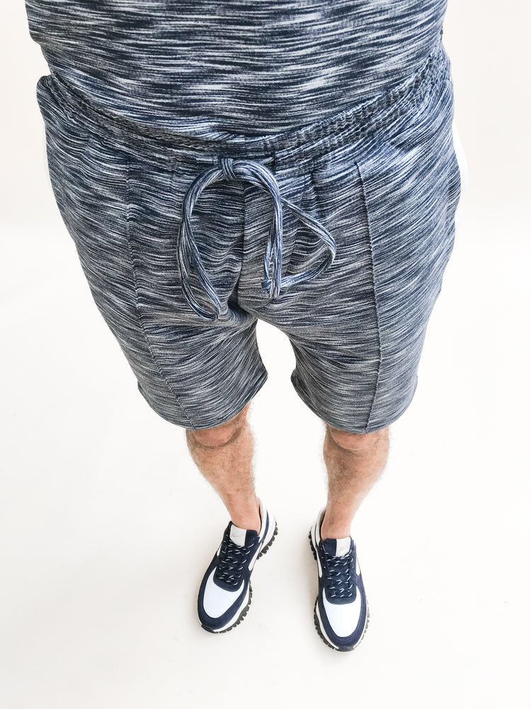 Load image into Gallery viewer, Navy Paros Space Dye Shorts - P r é v u . S t u d i o .