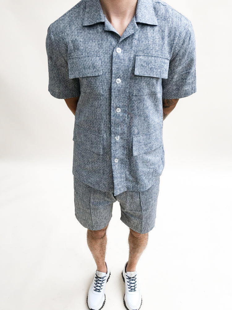 Load image into Gallery viewer, Navy Naxos Diamond Linen Regular Fit Shirt - P r é v u . S t u d i o .