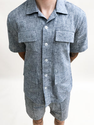 Navy Naxos Diamond Linen Regular Fit Shirt - P r é v u . S t u d i o .