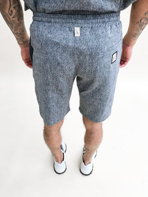 Load image into Gallery viewer, Navy Naxos Diamond Linen Shorts - P r é v u . S t u d i o .