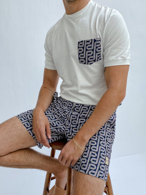 Load image into Gallery viewer, Pink and Black Balnea Logo Print Swim Shorts - P r é v u . S t u d i o .