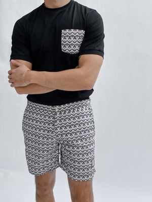 Load image into Gallery viewer, Pink and Black Balnea Geo Print Swim Shorts - P r é v u . S t u d i o .