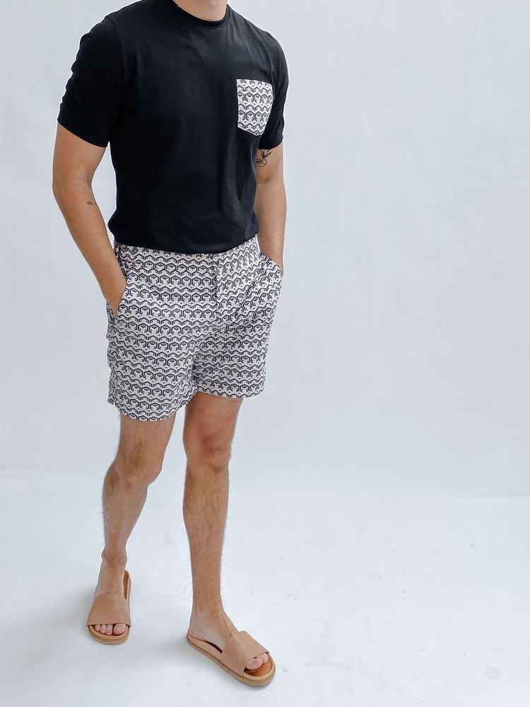 Pink and Black Balnea Geo Print Swim Shorts - P r é v u . S t u d i o .