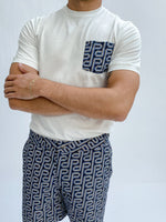 White and Blue Balnea P Pocket Slim Fit T-shirt - P r é v u . S t u d i o .