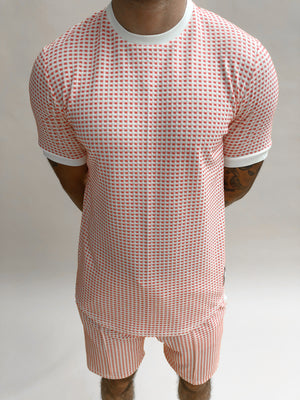 Load image into Gallery viewer, Coral Bonaire Jacquard Check Slim Fit T-shirt - P r é v u . S t u d i o .