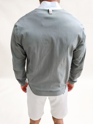 Load image into Gallery viewer, Stone and Cream Casablanca Panel Bomber Jacket - P r é v u . S t u d i o .