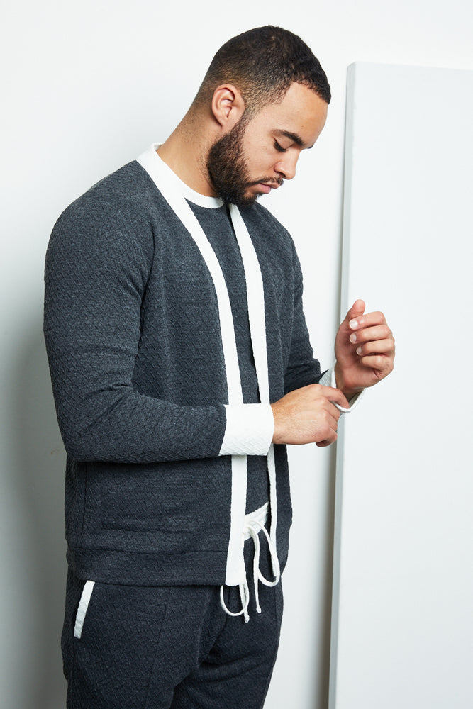 Load image into Gallery viewer, Grey Cruise Contrast Cardigan - P r é v u . S t u d i o .