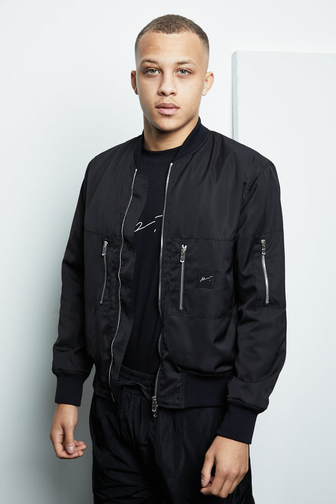Black Galileo Technical MA1 Bomber Jacket