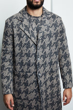 Grey Graian Check Single Breast Over Coat - P r é v u . S t u d i o .
