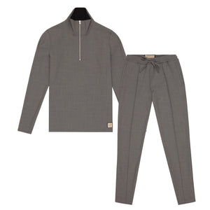 Prince of Wales 1/4 Zip Twinset Light Grey