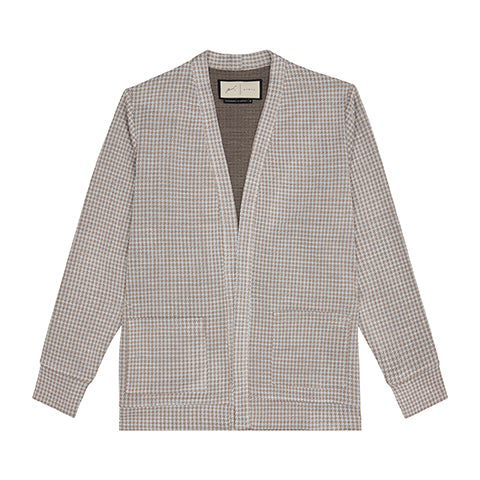 Load image into Gallery viewer, Tan Medina Puppytooth Cardigan - P r é v u . S t u d i o .