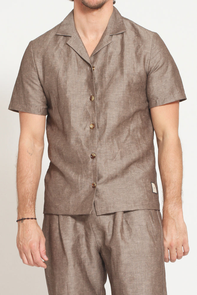 Brown Elia Linen Short Sleeve Regular Fit Shirt - Prévu Studio