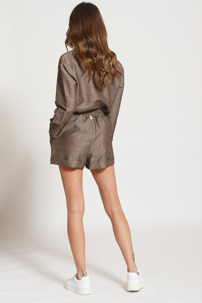 Women's Brown Elia Linen High Waisted Shorts - Prévu Studio