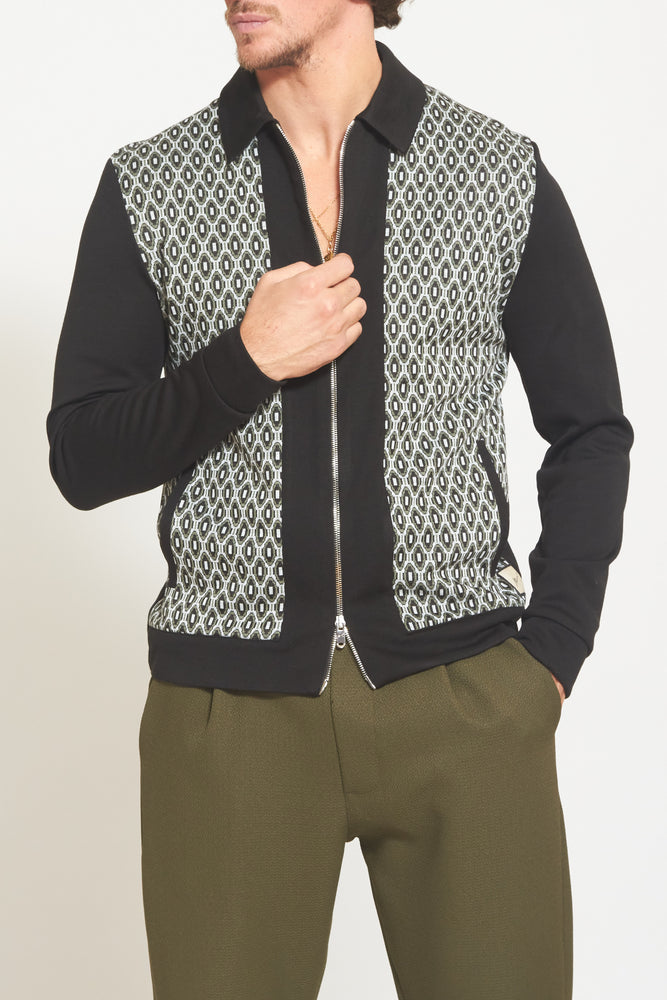 Black Torino Jacquard Panel Zip Through Shirt - Prévu Studio