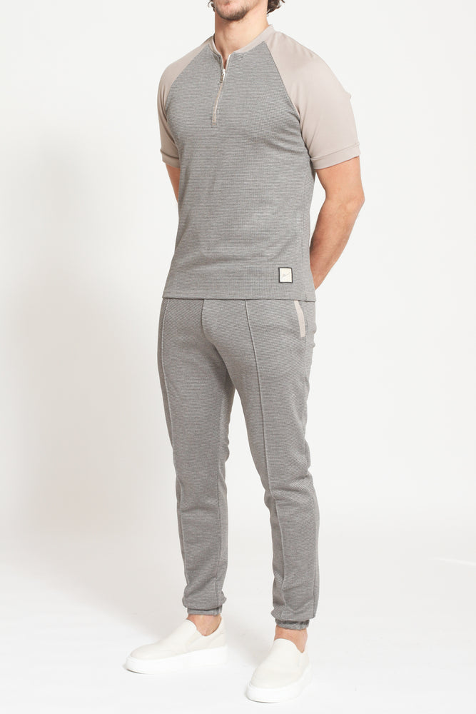 Beige Milward Puppytooth Check Slim Fit Joggers - Prévu Studio