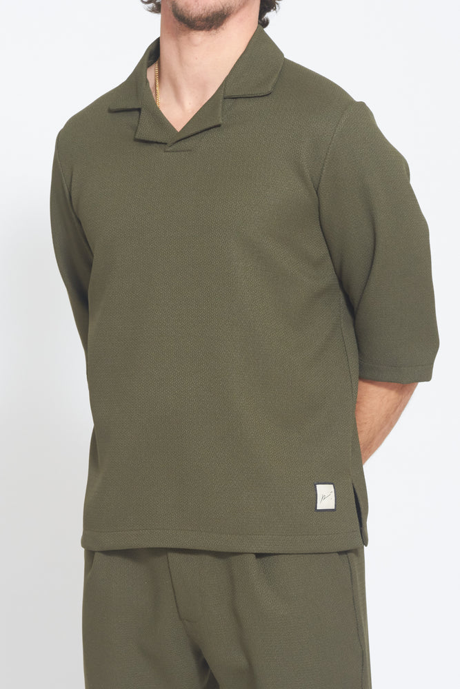 Khaki Belvoir Textured Box Fit Polo - Prévu Studio