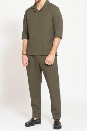 Load image into Gallery viewer, Khaki Belvoir Textured Regular Fit Polo - Prévu Studio