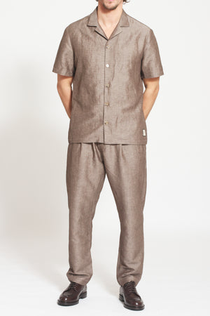 Load image into Gallery viewer, Brown Elia Linen Short Sleeve Regular Fit Shirt - Prévu Studio