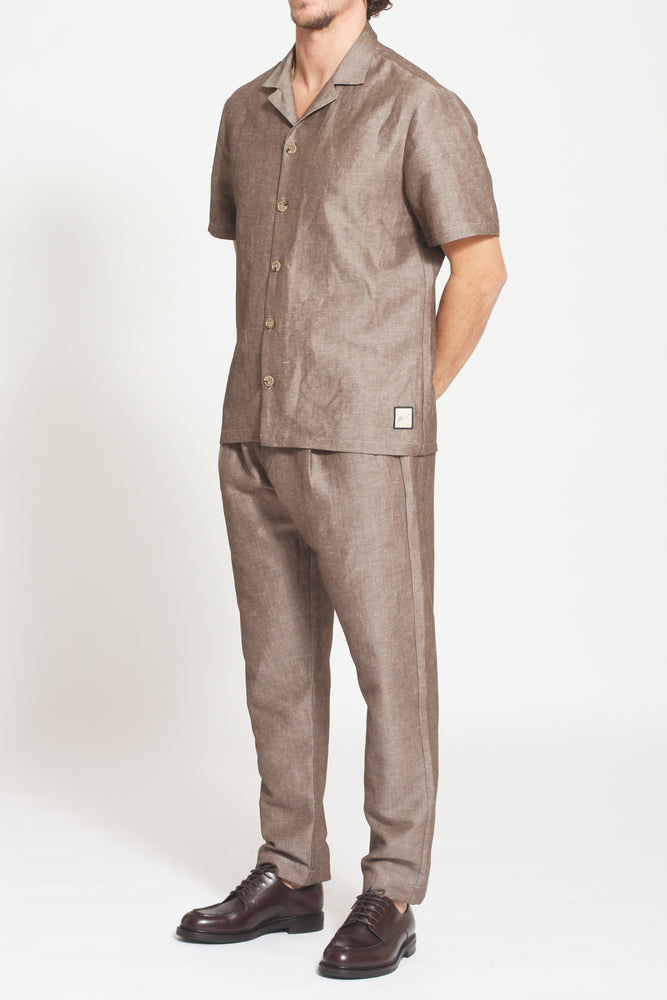 Brown Elia Linen Loose Fit Trousers - Prévu Studio