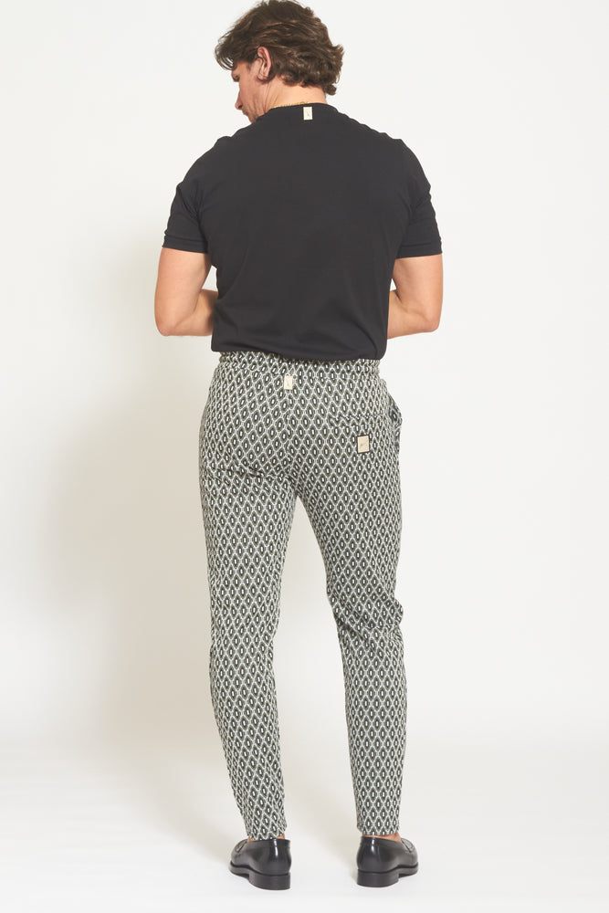 Black Torino Jacquard Slim Fit Trousers - Prévu Studio