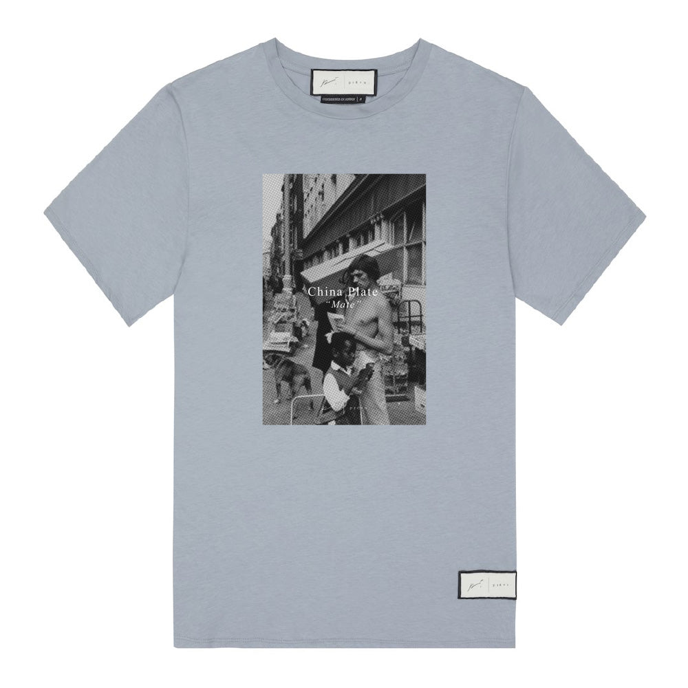 Signature China Plate Print T-Shirt Dusty Blue