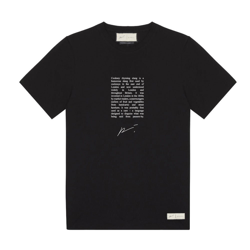 Cockney Rhyming Print T-Shirt Black - P r é v u . S t u d i o .