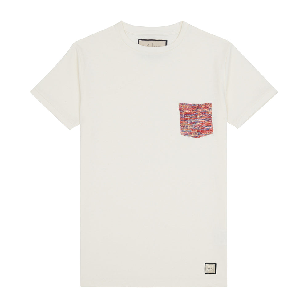 Load image into Gallery viewer, Kids Ecru Karaman Contrast Pocket T-shirt - P r é v u . S t u d i o .