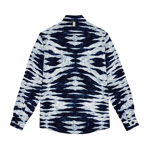 Navy Playa Tie Dye Slim Fit Shirt - P r é v u . S t u d i o .