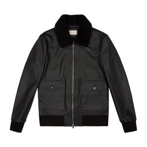 Load image into Gallery viewer, Black Ellwood Rd Leather Bomber Jacket - P r é v u . S t u d i o .