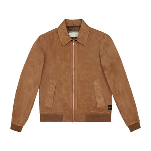 Load image into Gallery viewer, Tan Delancey Street Suede Jacket - P r é v u . S t u d i o .