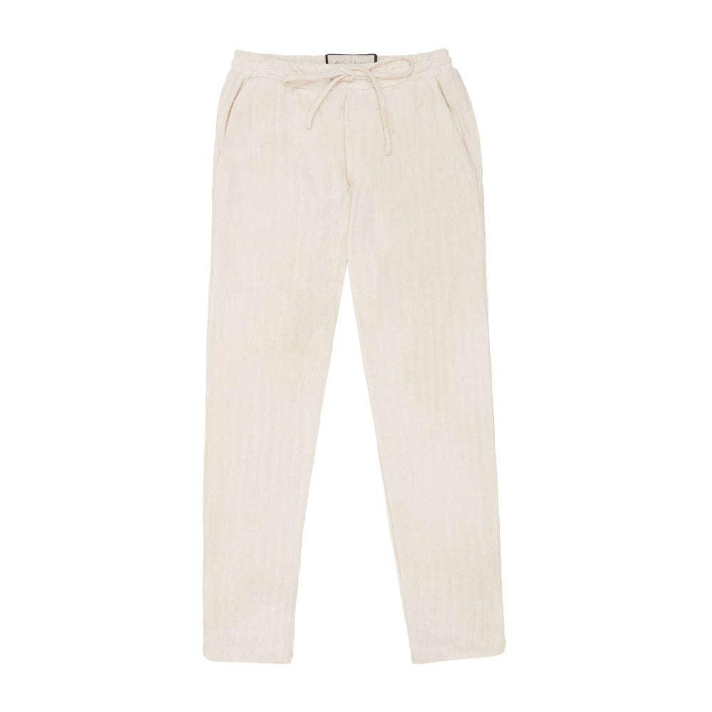 Cream Hudson Ribbed Slim Fit Trouser - P r é v u . S t u d i o .