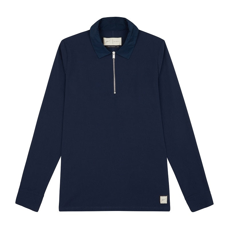 Navy Vinci Zip Neck Slim Fit Polo - P r é v u . S t u d i o .