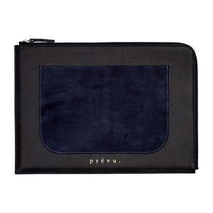 Load image into Gallery viewer, Dark Navy Langham Leather Document Bag - P r é v u . S t u d i o .
