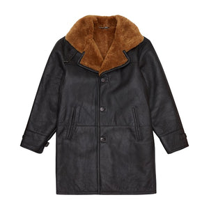 Load image into Gallery viewer, Brown Churchill Long Shearling Coat - P r é v u . S t u d i o .
