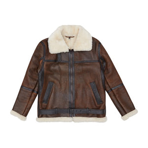 Load image into Gallery viewer, Brown Bourdon Shearling Aviator Jacket - P r é v u . S t u d i o .