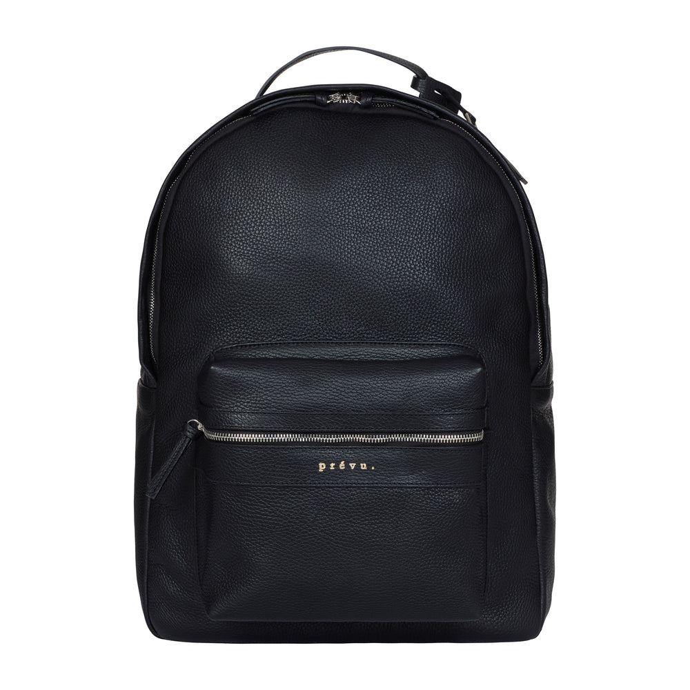 Load image into Gallery viewer, Black Tordino Pebble Leather Backpack - P r é v u . S t u d i o .