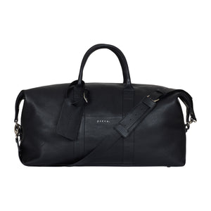 Load image into Gallery viewer, Black Tanaro Pebble Leather Holdall - P r é v u . S t u d i o .