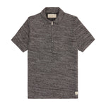 Black Reinhart Knitted Zip Neck Slim Fit Polo - P r é v u . S t u d i o .