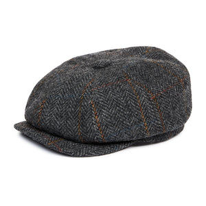 Load image into Gallery viewer, Grey Herringbone Wool Baker Boy Cap - P r é v u . S t u d i o .
